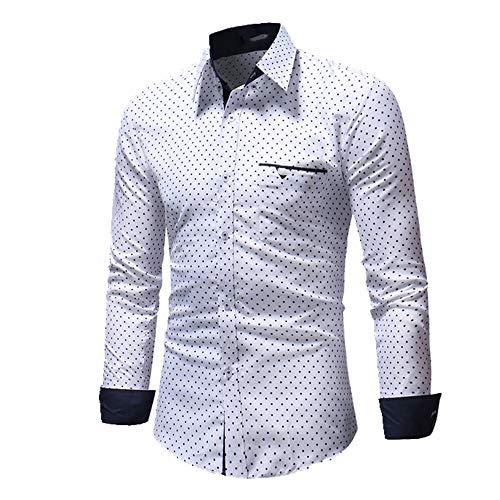 NP Męskie jesienne koszule na co dzień z długim rękawem w groszki slim fit sukienka z długim rękawem bluzka bluzka