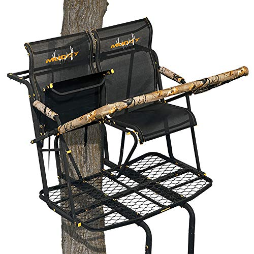 Muddy MLS2800 Rebel 2.5 Tree Stand 17' Ladder Stand, Lumbar Style 1.5 seat Design, Flex-Tek Seats flip up for Full Platform use, Black, One Size