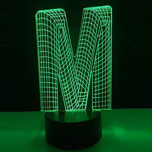3D Optische Illusion Led Nachtlampe Tischlampe Deko Licht Der Buchstabe M. Mit 7 Farben Ändern Und Fernbedienung Usb-Gebühr Für Hauptdekor Perfekte Geschenke Für Kind
