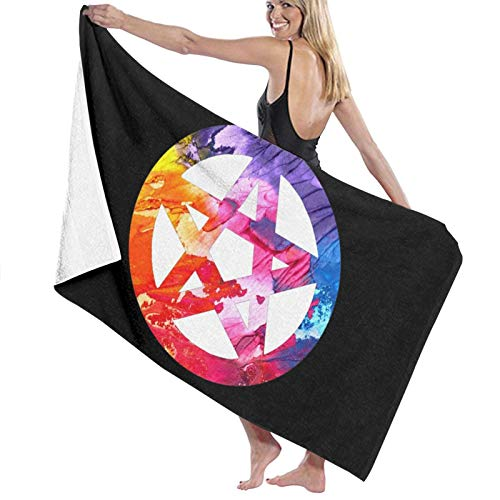 ghjkuyt412 Bath Towel,80X130Cm Funky Colorful Pagan Pentacle Bath Towels Super Absorbent Beach Bathroom Towels for Gym Beach SWM Spa