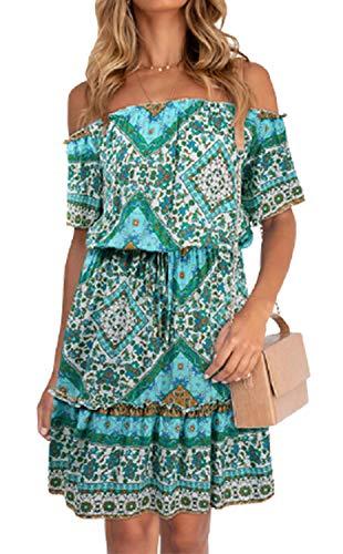 Women's Summer Boho Floral Print Maxi Dress Short Sleeve Off Shoulder Beach Dresses V Neck Sundress (Green Boat Neck, S)