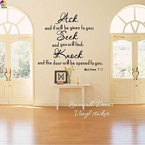 Muurstickers vragen u om een klop aan de deur religieuze bijbelletters citaat muursticker woonkamer matthew 7: 7 Inspiratie muursticker slaapkamer vinyl decoratie-groen 111 cm breedte x 100 cm hoog cooldeerydm