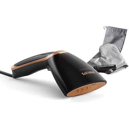 Philips GC365/80 Steam & Go Plus-Plancha de Vapor (1300 W, Placa calefactora SmartFlow, Accesorio para Cepillo), Color Negro y Dorado, plástico