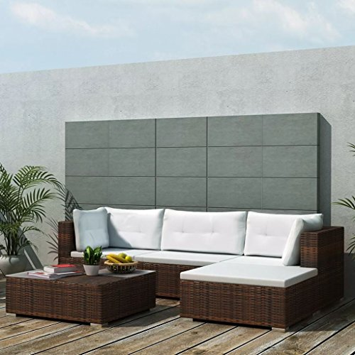 vidaXL Gartenmöbel 14-TLG. Poly Rattan Sofa Lounge Sitzgruppe Gartengarnitur - 2