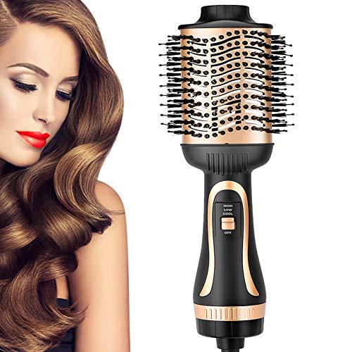YBLNTEK Secador de pelo 5 en 1 y peluquería, con iones negativos y peine para rizar, reduce el encrespamiento y la estática, antiquemaduras en el pelo largo.