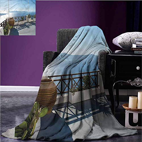 Mannwarehouse Travel Nursery Blanket Flannel Throw Blanket Mountain Island Exotic View Super Soft Reversible for Couch Sofa Bed Beach Travel W63 xL63
