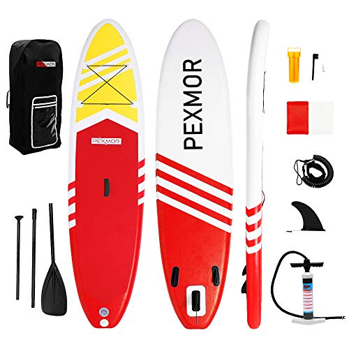 """PEXMOR Inflatable Stand Up Paddle Board for Fishing Yoga Paddle Boarding with Premium SUP Accessories & Carry Bag, Surf Control, Non-Slip Deck 