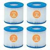 Pool Filter Type D/VII Cartridge, Type D Filter Compatible for Intex, Type VII Filter for Bestway, Hot Tub Filter Replacement Pool Spa Cartridge Size D, 4 Pcs