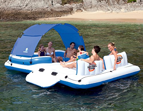 Covered Party Island Pool Floats for Adults with Cup Holder and Umbrella Perfect for Lake