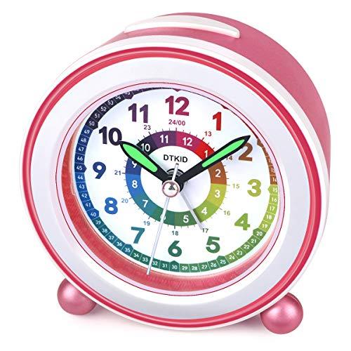 DTKID Wecker,Analoger Wecker Kinder, Kompakt Nicht Tickendes Bett Reise Silent Wecker mit Lautem Alarm, Nachtlicht, Snooze, Batteriebetriebene Weckuhr (Rosa)