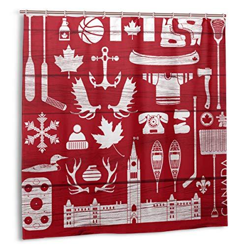 Duschvorhang, riesige Sammlung Stereotyper Kanadier auf Scheunenbrett Diese Gruppe enthält Hockeyschläger Äxte Geweih Badvorhang Set mit Haken