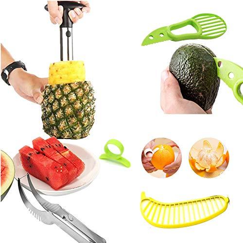 Pelador de frutas – Juego de 5 zanahorias de piña de acero inoxidable, cortador de sandía, pelador de cítricos de naranja, cortador de aguacate, cortador de plátanos