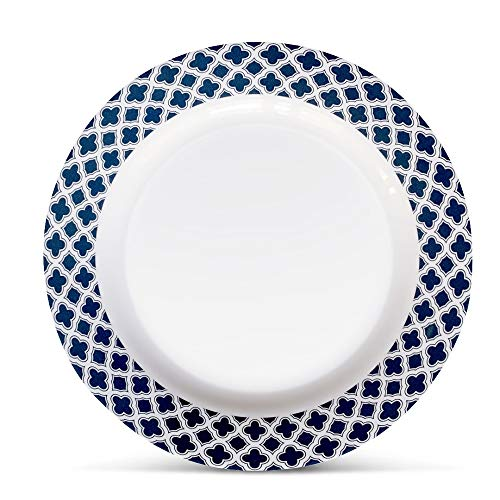 "Bowla Melamine Dinner Plates Set - Set of 6, indoor or ourdoor plates (11"" -6 Piece Set, Bluegrass)"
