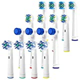 Replacement Brush Heads for Oral B Electric Toothbrush- 16 FAMILY Pk of Assorted Brushes Compatible W/Oralb Braun- 4 Cross, 4 Floss, 4 Precision & 4 Sensitive- Fits Pro 1000, Triumph, Clean + More