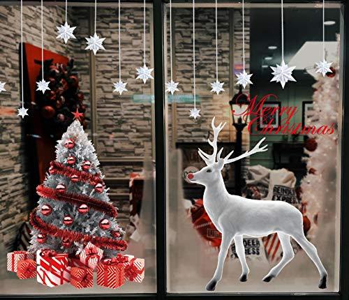 heekpek Autocollant de Noël Renne Sapin de Noël Grand Stickers Statique Decoration de Noël pour Vitrine Fenetres (Style 1)