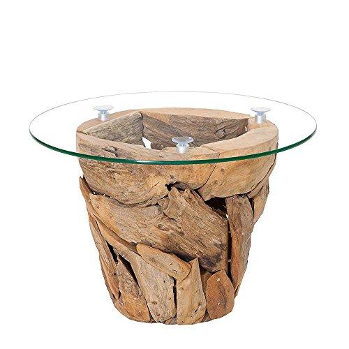 Pharao24 Design Couchtisch aus Teak Recyclingholz runde Glasplatte