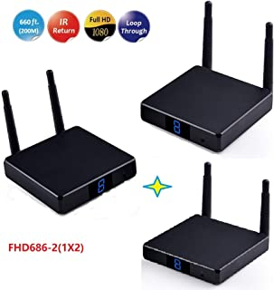 MEASY HD686-2 WiFi HD Video Sender with 200m Transmission Distance Support 1x2 Wireless hdmi Transmitter and Receiver Incl...