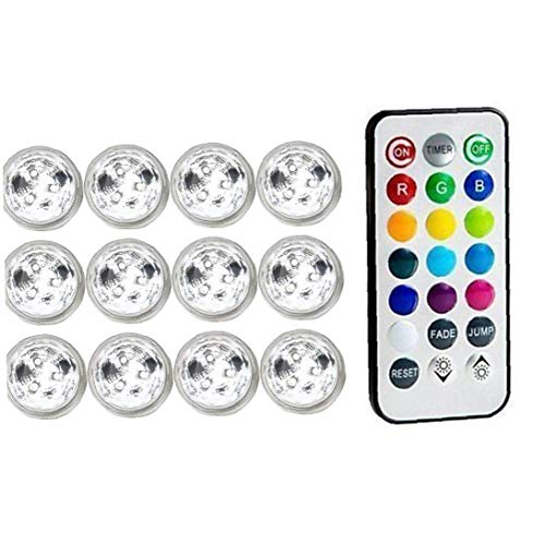 Submersible LED Light Underwater Disco Hot Tub Candle with Remote RGB for Pond Pool Vase Base Fish Tank Garden
