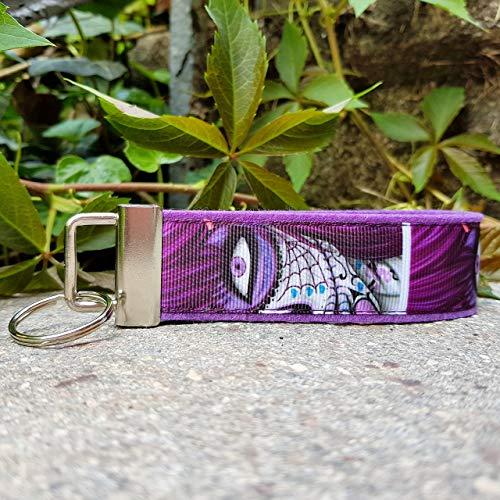 Schlüsselanhänger Schlüsselband Wollfilz lila Ripsband Maske pink lila grau Geschenk