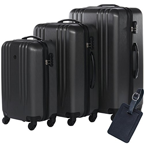 FERGÉ Kofferset Hartschale 3-teilig + 1x Anhänger Marseille Trolley-Set mit Handgepäck 55 cm 3er Set Hartschalenkoffer Roll-Koffer 4 Rollen grau