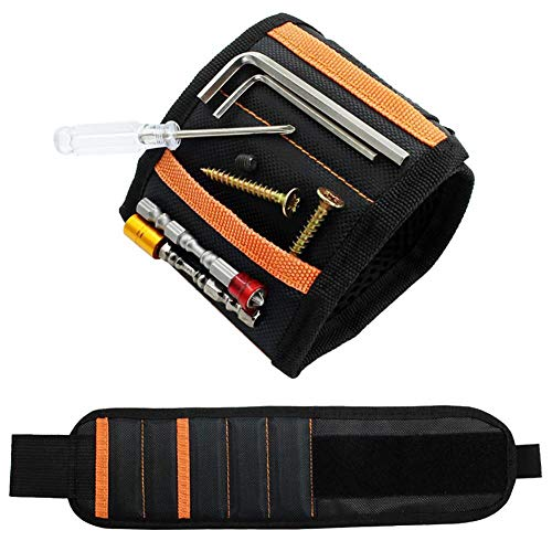 Pulsera Magnética Ajustable con 15 Súper Imanes para tornillos de sujeción,ideas de regalos para el marido, papá, novio, Manitas(negro)