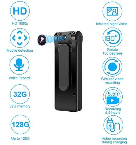 Spy Hidden Camera, Mini Body Camera HD 1080P Tiny Nanny Camera met Motion Detecion en Night View, Video Audio Camera Recorder voor thuis en op kantoor (inclusief 32GB kaart)
