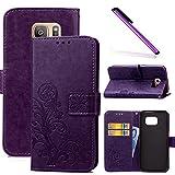 COTDINFOR Galaxy S7 Edge Funda trébol Cierre Magnético Billetera con Tapa para Tarjetas de Cárcasa Elegante Retro Suave PU Cuero Caso Protectora Case para Samsung Galaxy S7 Edge Clover Purple SD