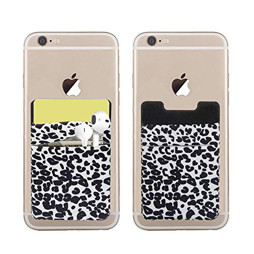 SS Phone Card Holder, 2 Pack Phone Pocket Stretchy Lycra Stick On Wallet for Credit Card, Business Card ID and Keys, Phone Wallet for Almost All Phones (Leopard Print)