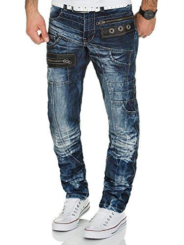 Kosmo Lupo Jeans | Herren Denim Jeanshose | Regular Fit - Straight Leg | Designer K&M Hose Vintage Clubwear Chino Used | Blau (KM012 | 31W / 32L)