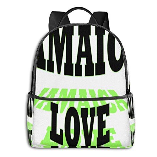 Jamaica Love Blk Student School Bag School Cycling Leisure Travel Camping Outdoor Backpack