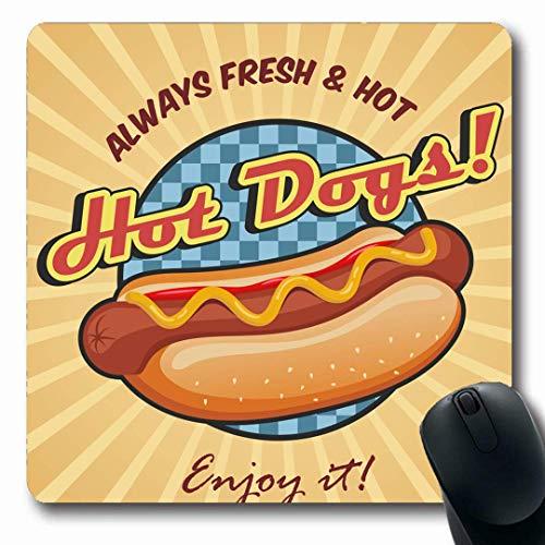 Mousepads Längliche Form Schneller roter Hotdog Amerikanischer Hot Dog Sandwich Ketchup Senf Essen Trinken Gelb Vintage Retro BBQ Essen Rutschfeste Gaming Mauspad Gummi Längliche Matte