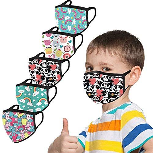 5 Stück Kinder-Mundschutz mit motiv Einfarbig/Cartoon Druck,Waschbar Wiederverwendbar,Baumwolle Stoff Atmungsaktiv,Gesichtsschutz Halstuch Für Jungen Mädchen - 4