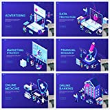 Block chain 2.5 D isometric financial big data e-commerce technology banner landing page template illustrator Ai/EPS/PNG material 0133