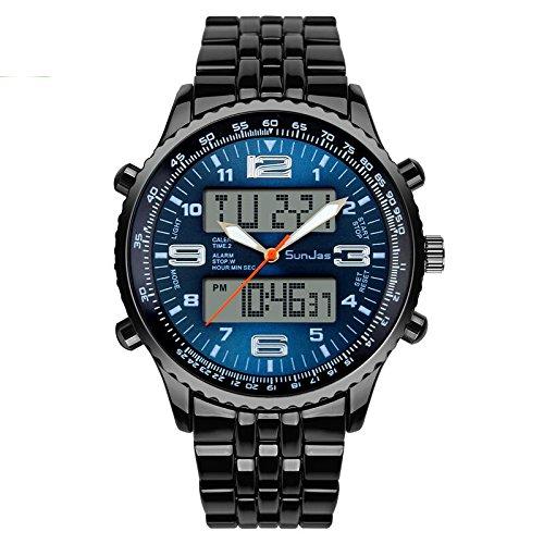 SunJas Armbanduhr Sportuhren 30 Meter wasserdicht Militär Zwei Zeitzonen mit Kalenderfunktion zifferblatt Uhr Digital Led Alarm Kalender Uhren Watches für Herren Männer Damen Frauen Jungen universal