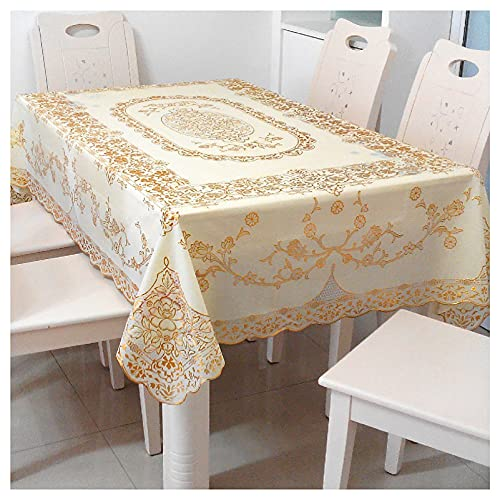 Tablecloth Bronzing Table Cloth Rectangle European style bronzing pvc tablecloth lace printing coffee table cloth waterproof, anti-scald and oil-proof tablecloth(Size:135X180cm,Color:C)