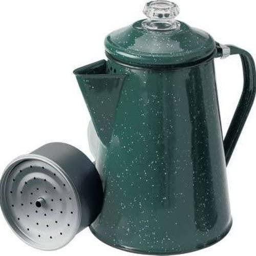 GSI Outdoors Enamelware Percolator Coffee Pot, 8-Cup, Green