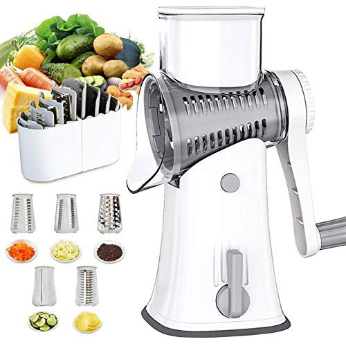 TQUS 5 in 1 Rotary Cheese Grater Handheld Round Vegetable Slicer Cutter Chopper Mandoline Slicer Shredder Grater Kitchen with 5 Stainless Steel Interchangeable Blades for Fruit Vegetables