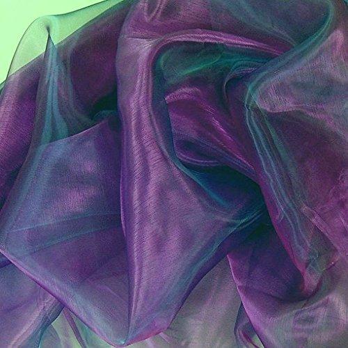 TOLKO 1m Organza Stoff als Dekostoff Meterware | Hauch Zart, Fein Durchsichtig zum Nähen Dekorieren Basteln | 145cm breit leichte Glanz Stoffe Gardine Vorhänge Tischdecken Deko Schals (Aubergine)