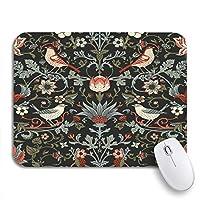 ECOMAOMI 可愛いマウスパッド カラフルなダークエンチャントヴィンテージ花と鳥魔法の森滑り止めゴムバッキングコンピューターマウスパッドノートブックマウスマット