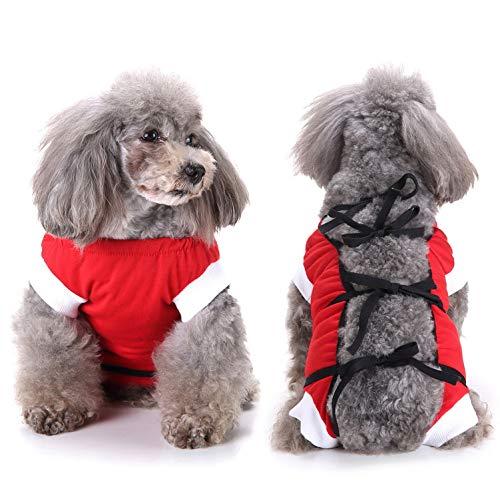 SELMAI Recuperación del Perro Alternativa de Cuello Traje de Cuerpo para Gato Cachorros Caninos Mascota Trajes de Recuperación Quirúrgica para Enfermedades De La Piel Heridas Anti Lamiendo Rosso XS