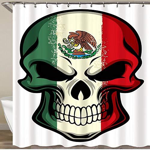 KGSPK Cortinas de Ducha,Bandera de México Pintada en el cráneo,Impermeable Cortinas Baño y Lavables Cortinas Bañera 180x180CM
