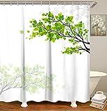 LIVILAN Blatt Duschvorhang, Stoff Badezimmer Vorhang mit Haken, dekorative Badvorhänge für Duschkabinen, 183 x 183 cm, maschinenwaschbar, grüne Blätter