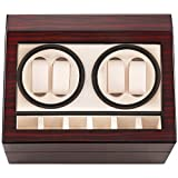 HBselect Automatic Watch Winder Box with 4 Watch Winder Positions and 6 Display