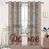 Blackout Curtain Motivational Window Decor Light Block Drapes Vintage Display with Wise Words About The Importance of Persistence for Bedroom 2 Grommet Top Curtain Panels, 42' W x 54' L