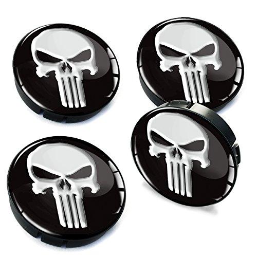 SkinoEu® 4 x 60mm Silikon Nabenkappen Kappen Punisher Totenkopf Totenschädel Skull Felgendeckel Radkappen Radnabendeckel Nabendeckel Auto Tuning C 1