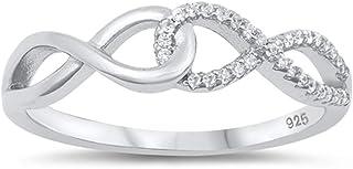 透明 CZ 无限结环链精致戒指 925 纯银戒指 尺寸 4-10