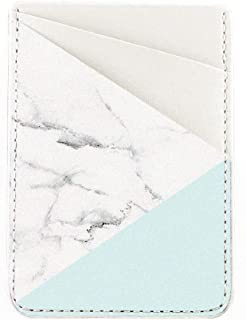 Obbii Tiffany Marble PU Leather Card Holder for Back of Phone with 3M Adhesive Stick-on Credit Card Wallet Pockets for iPhone and Android Smartphones