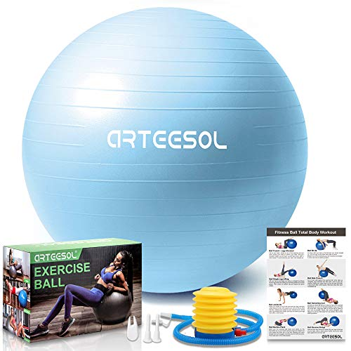 arteesol Gymnastikball, Balance Ball 45cm/55cm/65cm/75cm Yoga Ball mit Pumpe Anti-Burst Fitness Balance Ball für Core Strength (45 cm, Mondblau)