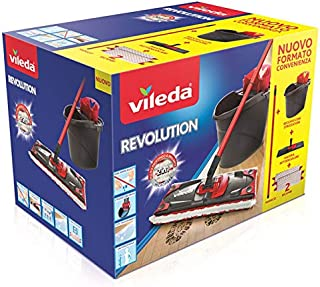 Vileda Revolution Système de Nettoyage avec Seau, essoreuse et Plaque avec Chiffon en Microfibre 2 Morceaux de Tissu 28.5 ...