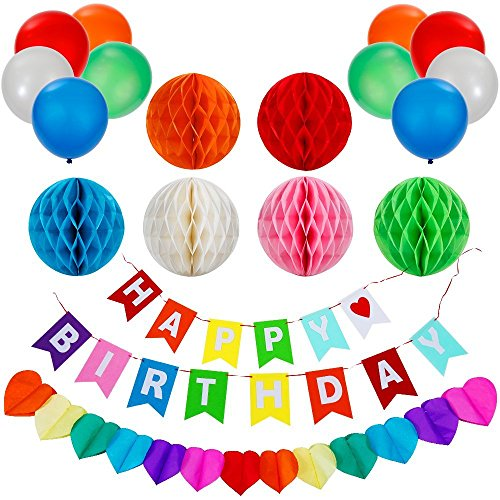 Lictin Birthday Party Decorations Favors, Happy Birthday Banner with 6 Pack Honeycomb Balls 1 Colorful Heart-shape Paper Garland and 10 Balloons, Party Supplies( Multicolor)